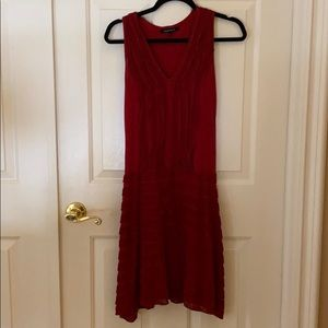 Nanette Lepore Red knit ruffle dress size XS